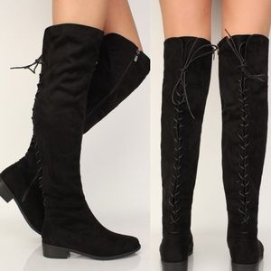 Shoes - Black Flat Vegan Leather Over The Knee Boots